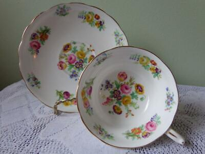 Grosvenor Bone China Miniature Roses & Tulip Bouquet Footed Cup & Saucer