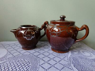 Langley Mills Pottery Dark Brown With Silver Overlay Creamer & Lidded Sugar Bowl
