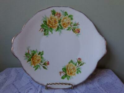 Royal Albert Bone China Yellow Tea Rose Round Handled Cake Plate