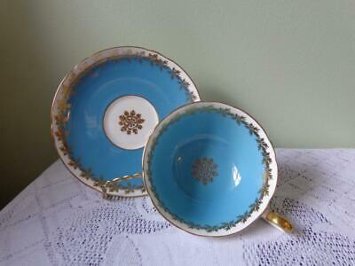 Shelley Bone China Turquoise Blue Gold Gild Medallion Wide Mouth Cup & Saucer