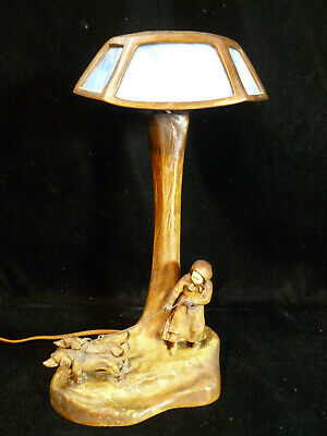 Solid Bronze & Stained Glass Figural Table Lamp - Walking The Dogs – Circa 1900
