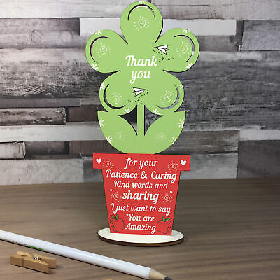 Gift for Teacher And Assistant Wooden Flower Thank You Leaving Gifts School Term