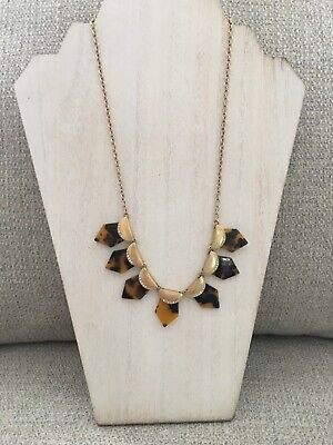 Chico's Gold Tone & Faux Tortoise Shell Necklace, Excellent