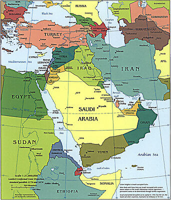 2003 CIA Map of the Middle East Political Wall Art Poster School Teacher Asia