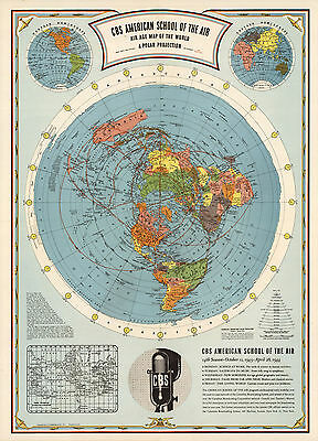 world map atlas globe earth compass A1 Print  poster   vintage painting art