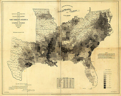 1860 Slave Population Southern US Census Map Slavery Home School Civil War Print