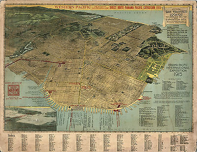 1914 Pictorial Birds-Eye-View Map San Francisco Vintage Wall Art Poster Decor
