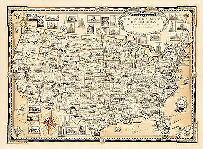Pictorial Map of the Appalachian Region Historical Wall Poster Vintage History