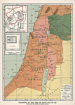 Palestine in the time of Jesus, 4 B.C.-30 A.D. Bible Map Israel Holy Land Poster