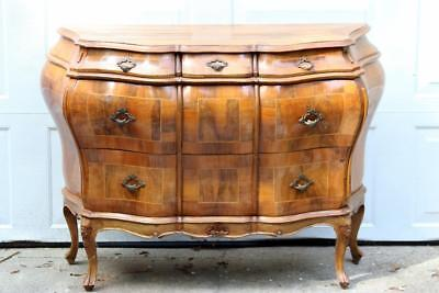 1950s Italian Olive Wood Bombay Chest Dresser Inlaid