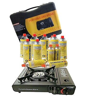 Portable Gas Cooker Stove With Carry Case+8 Butane Gas Bottles Refills Camping