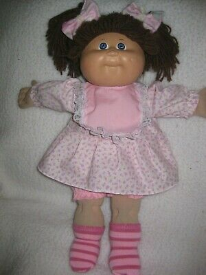 CPK doll clothes//handmade pink owl print flannel pajamas//lace//pillow