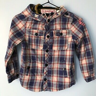 NEW Scotch Shrunk boys Plaid Snap Up jacket Lightweight hooded size 6 $122