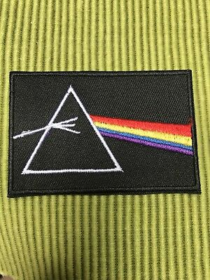 """Pink Floyd Dark Side Triangle Prism Logo 3""""x2"""" Rectangle Patch Iron Or Sew On"""