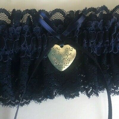 Wedding garter, Navy Blue lace with heart - Small-Medium & Plus size/Large