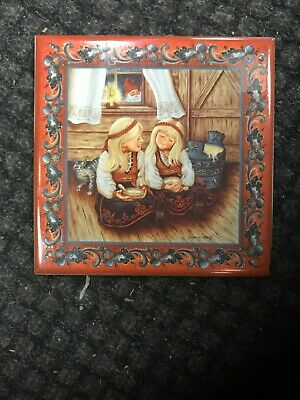 "Norwegian Trivet Tile  ""Rommegrot Girls"" By Suzanne Toftey 6 x 6"""