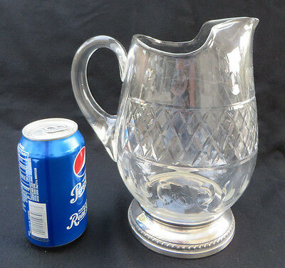"Vintage Large Sheffield Sterling Silver & Glass / Crystal Water Pitcher 9 1/4""H"