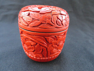 "Vintage Japanese Cinnabar Lacquer on Wood Tea Caddy Natsume with Lid 2.75""H"