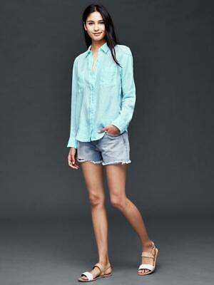 NWT Women's GAP Linen Light Blue Long Sleeve Button Down Boyfriend Shirt Small