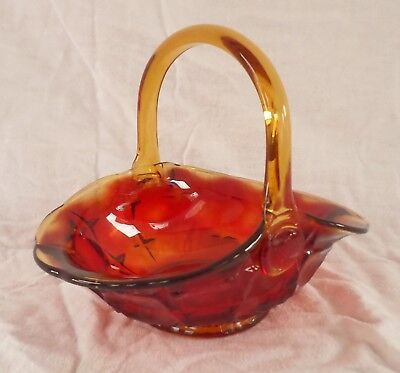 "Indiana Glass - MONTICELLO-Sunset~Amberina - 7"" Basket - Ruby-Red & Yellow-Gold"