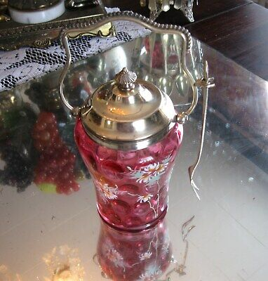 Fine Quality Antique  Cranberry Enamel Glass Silver Plate Pickle Castor Jar