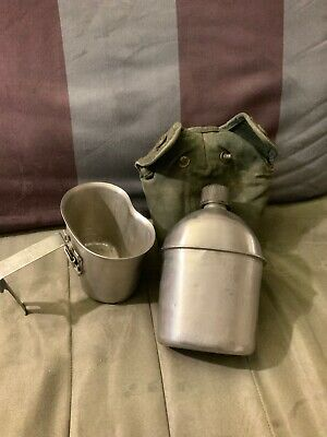 WWII US Army Canteen Set, Canvas Cover And Cap 1944,1945
