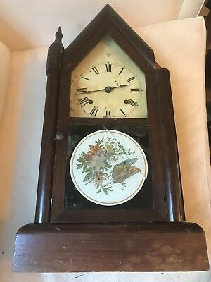 ANTIQUE SETH THOMAS 8 DAY, SHARP GOTHIC STEEPLE SHELF Clock, Parts Or Repair