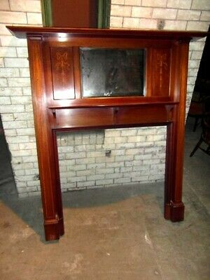 Edwardian Inlaid Mahogany Fire Surround In The Art Nouveau Style