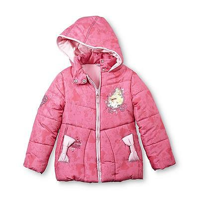 Disney Princess Girl's Hooded Quilted Coat Size 4/5 - Ariel, Aurora & Belle, New