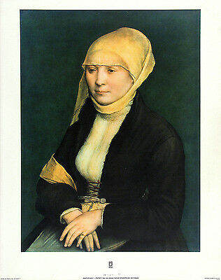 Form. Attrib. HANS HOLBEIN Vtg & Rare c1960s OOP Litho PORTRAIT OF A YOUNG WOMAN