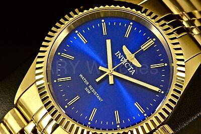 29386 Invicta Speciality Camelot Blue Dial 18k Gold Tone Stainless Steel Watch