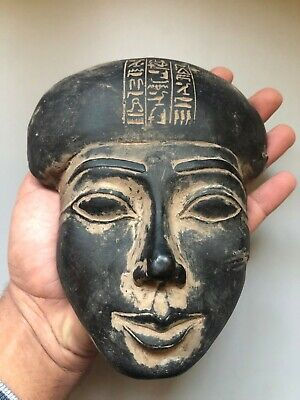 Rare EGYPTIAN ANTIQUES EGYPT STATUE Mask Pharaoh Carved Black Stone 18th Dynasty