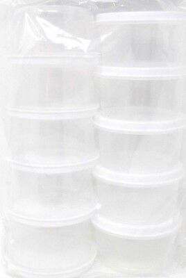 Round Container, With Lid, 10-Pack, 2.3 fl oz, small, food, craft, storage