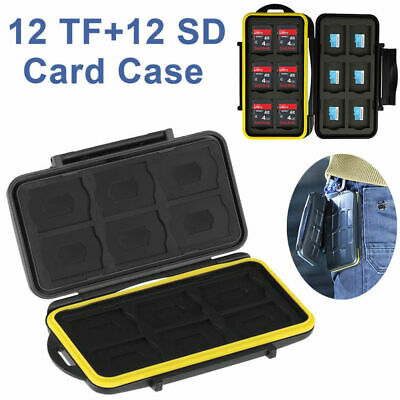 Water Resistant Holder Storage Fits Memory Card Case 12 SD+12 Micro SD TF Cards