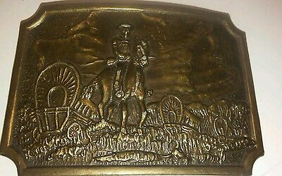 Vintage USA Brass Belt Buckle Covered Wagon with Horse and rider.