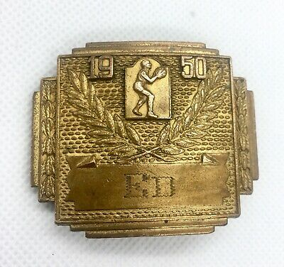 1950 Vintage Mens Basketball Belt Buckle Monogram ED Gilt Brass Accessory