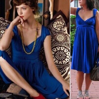 28253f21cbb9 Anthropologie C Keer Country Mile Dress SMALL Blue Shirred Jersey Mid Length