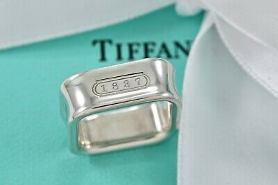 Tiffany & Co. 1837 Sterling Silver Square Wide Band Ring Size 6 w/ Pouch