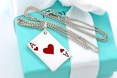 """RARE Tiffany & Co Silver Red Enamel Poker Card Ace of Hearts Pendant 24"""" Chain"""