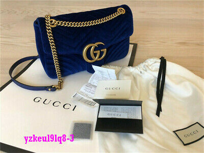 1d3f7a0fd4678c **Gucci** Marmont GG Chain Shoulder Bag Blue Velvet Spring 2019 Best Price