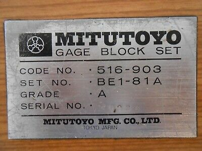 "Complete 81 Pc ""Mitutoyo 516-903 Be1-81A"" Gage Block Set ~ Grade A ~ In Wood Box"