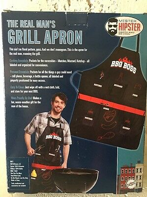 Party And Be Cool BBQ BOSS Mister Hipster The Real Man/'s Grill Apron