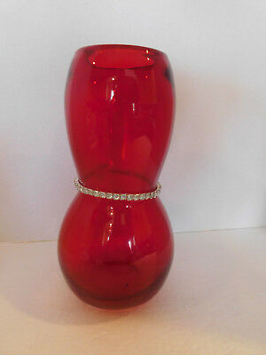 """Vintage Style Ruby Red Round Tapered Glass Vase w Rhinestones & Heart 9"""" Tall"""