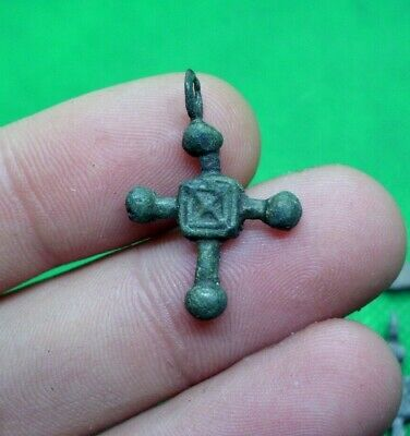 Superb Medieval Crusaders Era Bronze Cross Pendant - 1100/1200 Ad