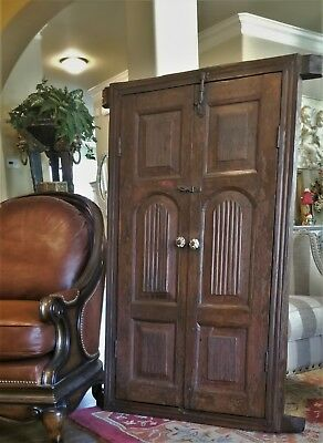 SALVAGED ANTIQUE 18thC ENGLISH TIMBER WINDOW FRAME SHUTTER DOORS FORGED HARDWARE