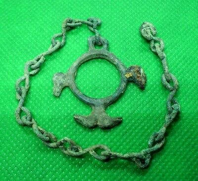 Hallstatt Culture / Celtic Druids Bronze Amulet With Birds On Chain - 700 Bc -
