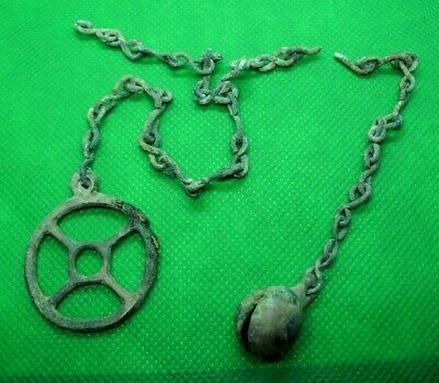 Hallstatt Culture / Celtic Druidsbronze Solar Amulet On Chain /W Bell - 700 Bc -