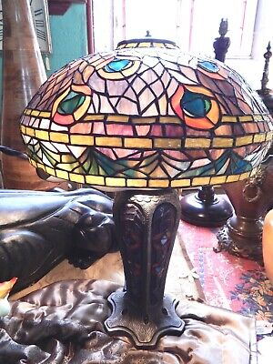 Tiffany Style Table Lamp Designer Unique Peacock Stained Glass Hand Made 60cm