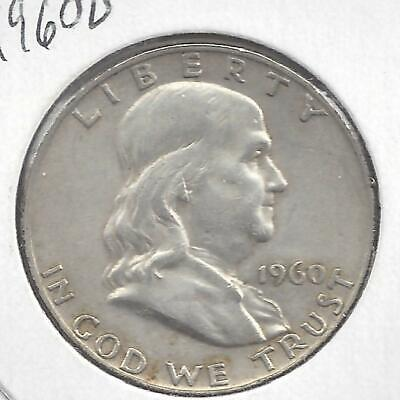 1960 D Franklin half dollar Nice Circulated U.S. 90% silver coin