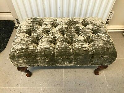 """Stunning NEW Large Sage Green Shadow Velvet Look 24""""x 14"""" Buttoned Foot Stool"""